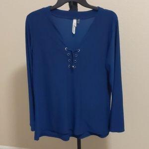 Lovely blue long sleeve blouse